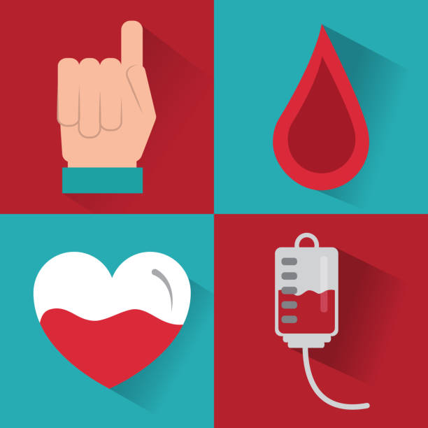 set of icons hemophilia blood campaing vector art illustration