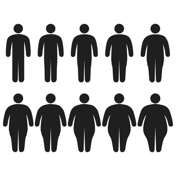 illustrazioni stock, clip art, cartoni animati e icone di tendenza di set of icons human thick, thin, fat, body size, degree of obesity, vector of the proportions the body from thin to fat, the concept of losing weight training fitness and sport template - obesity