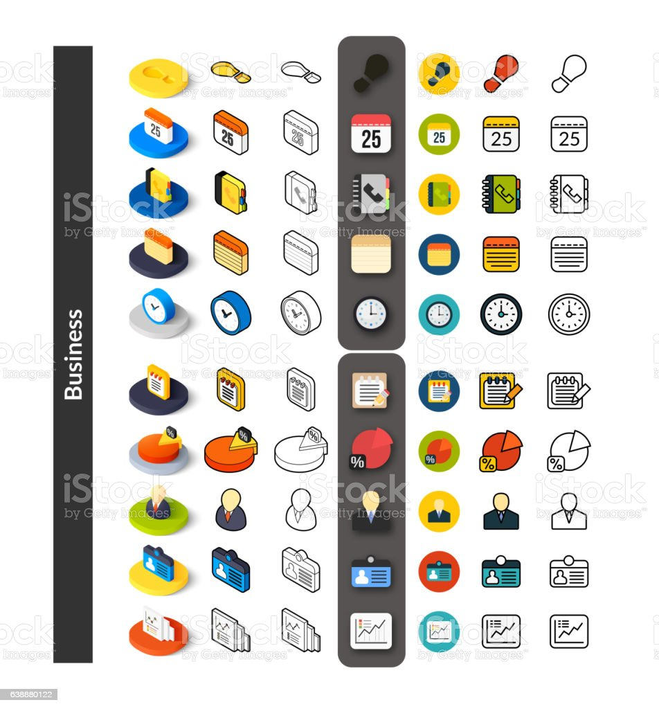 Set of icons in different style, isometric flat and otline – Vektorgrafik