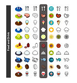 Set of icons in different style - isometric flat and outline, colored and black versions, vector symbols - Food and drink collection
