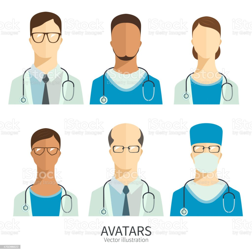 Set of icons in flat style. Doctors and medical staff. vector art illustration