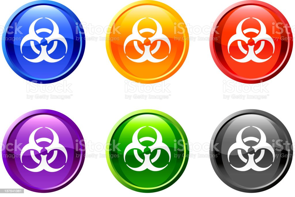 Set of icons in multiple colors with the biohazard symbol. royalty-free stock vector art