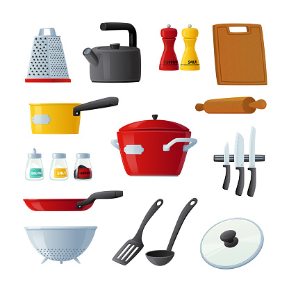 Set of Icons Kitchenware and Utensils Cooking Pan, Turner, Rolling Pin and Cutting Board, Kettle, Knives and Grater