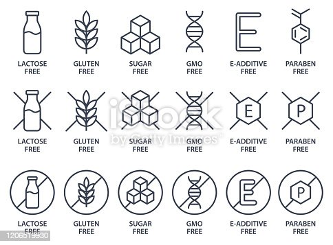 Set of icons - Lactose Free, Gluten Free, GMO Free, Paraben free, Food additive, Sugar free. Vector illustration.