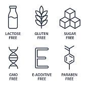 Set of icons - Lactose Free, Gluten Free, GMO Free, Paraben free, Food additive, Sugar free. Vector illustration.