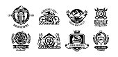 Set of icons, mountain bike. Bicycle, racer, eagle, repair service downhill freeride Vector illustration