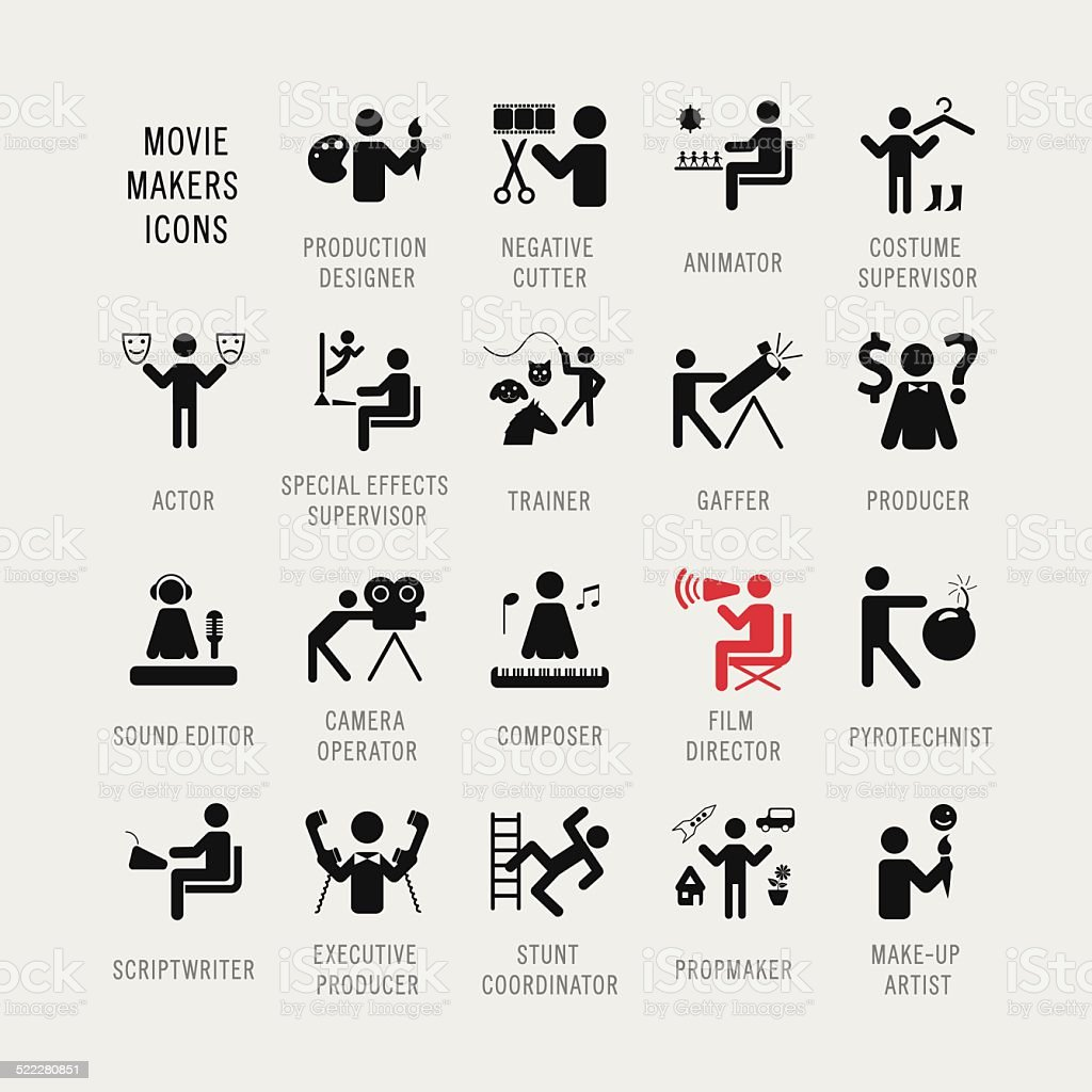 Set of icons. 'Moviemakers'. vector art illustration