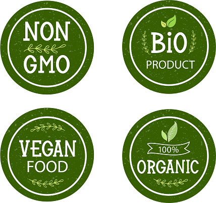 Set of icons non GMO, Bio product, 100% organic, vegan food