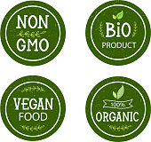 Set of icons non GMO, Bio product, 100% organic, vegan food, collection for food market, eCommerce, organic products promotion, healthy life style and premium quality food and drink.