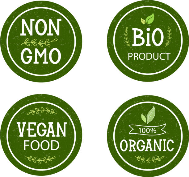 Set of icons non GMO, Bio product, 100% organic, vegan food Set of icons non GMO, Bio product, 100% organic, vegan food, collection for food market, eCommerce, organic products promotion, healthy life style and premium quality food and drink. organic stock illustrations