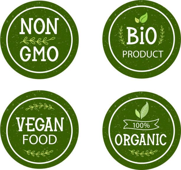 ilustraciones, imágenes clip art, dibujos animados e iconos de stock de conjunto de iconos no gmo, productos bio, 100% orgánico, comida vegana - sin gluten