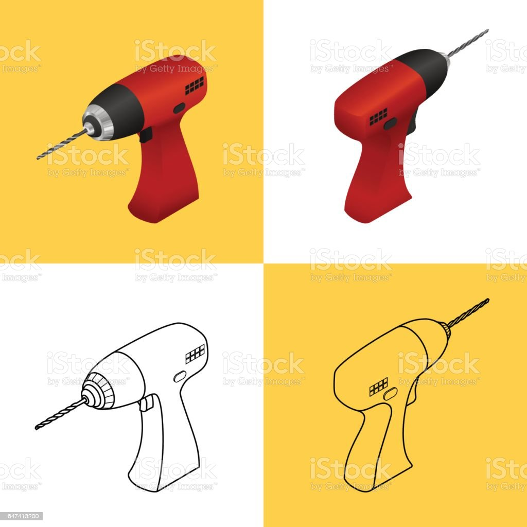 Set of icons of a drill vector art illustration