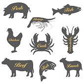 istock Set of icons of animals 1183753532