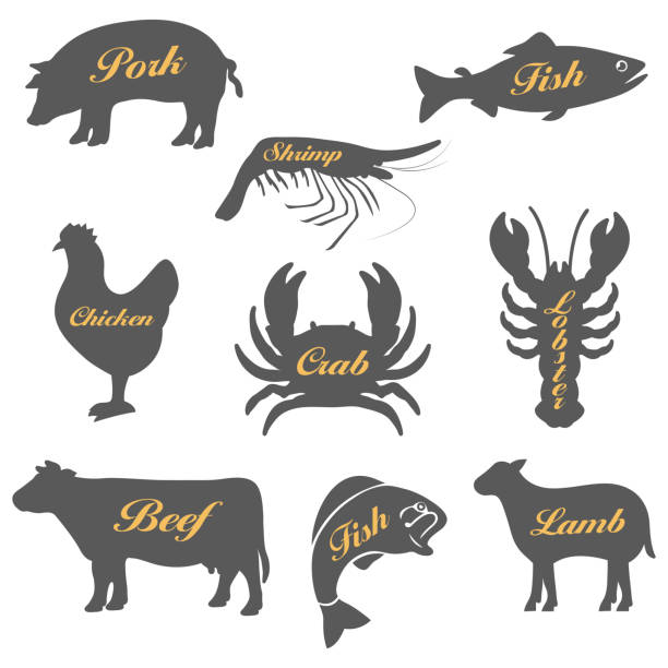 Set of icons of animals Set of icons of animals.Vector illustration poultry stock illustrations