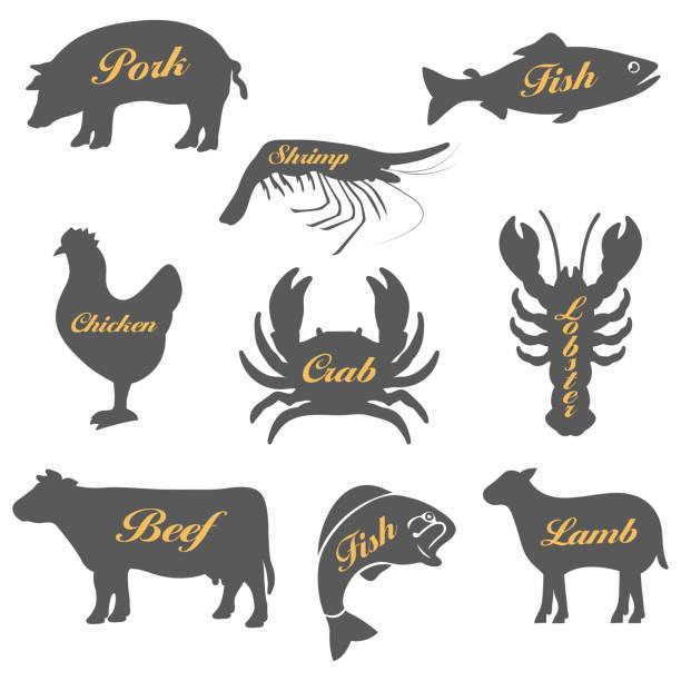 동물의 아이콘 세트 - 소고기 stock illustrations
