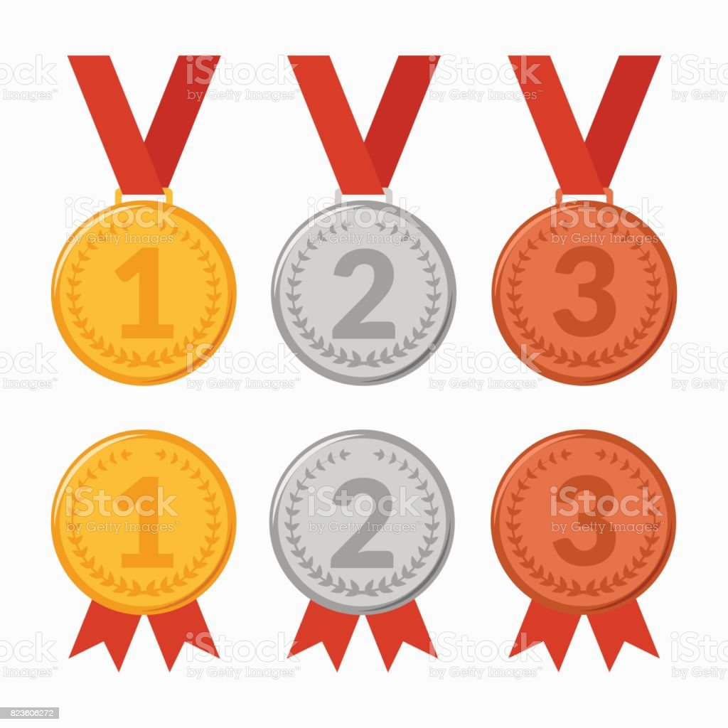 Set of icons of award winning medals vector art illustration