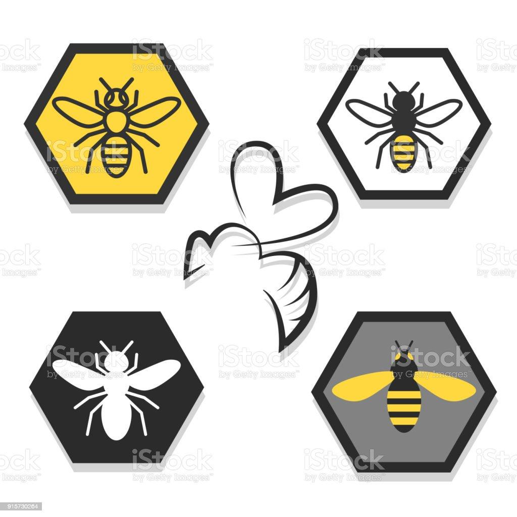 ensemble d'icônes d'abeilles - Illustration vectorielle