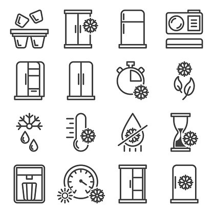 A set of icons of refrigerators, freezing and everything related to cold temperature. Minimalistic linear images. Isolated vector on a white background.