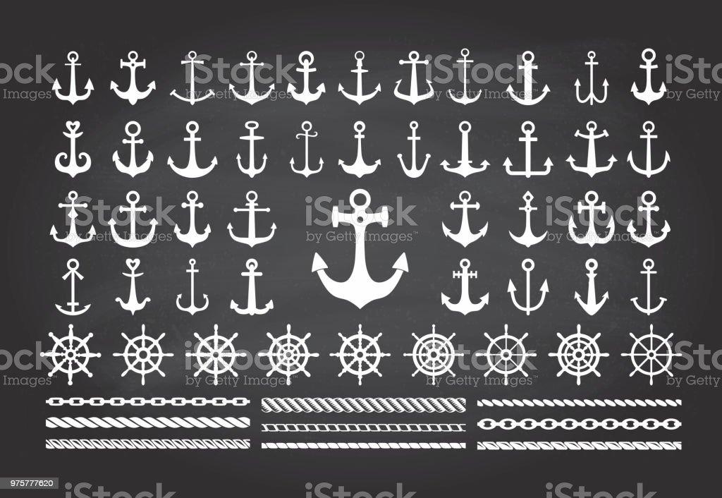 Satz von Symbolen des Meer-Thema auf einer Tafel Hintergrund-Anker, Seile und Meer Räder. - Lizenzfrei Abstrakt Vektorgrafik