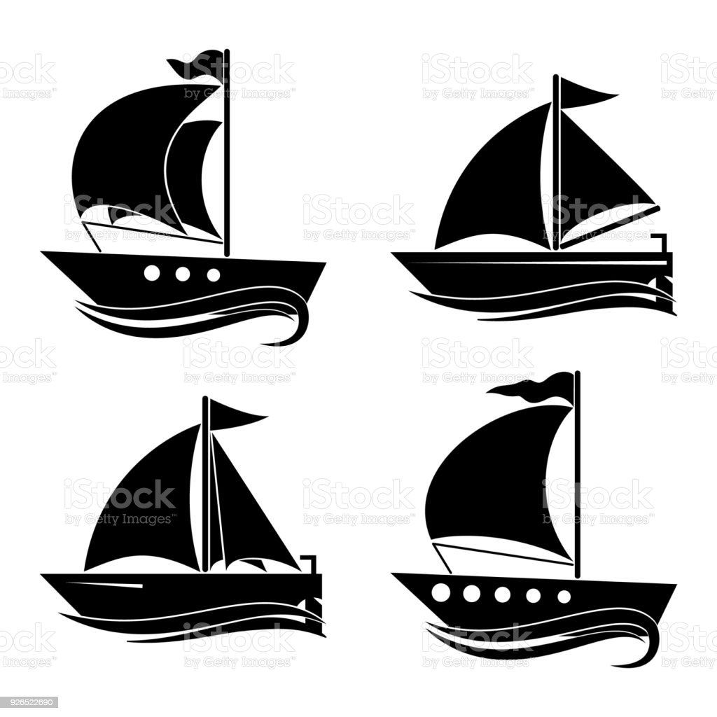 A set of icons of yachts. Decor for your ideas.