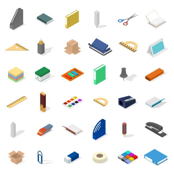 satz von symbolen, büro- und schulbedarf. flache isometrische 3d-stil, vektor-illustration. - hochschulgetränke stock-grafiken, -clipart, -cartoons und -symbole