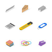 Set of icons, office and school. Flat 3d isometric style, vector illustration.