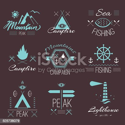 Set of icons on a hike in the mystical style