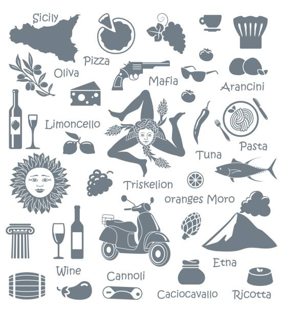set of icons on a theme of sicily - sicily stock illustrations