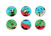 A set of icons on a theme of sports. Vector illustration. Vintage style, retro. Sport games. Square icons for the site, banner. Brand stickers, avatrack. Shooting, wrestling, jumping, gymnastics.