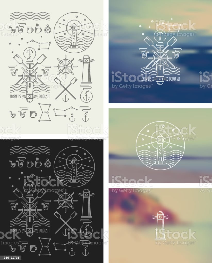 Set of icons on a theme of the sea vector art illustration