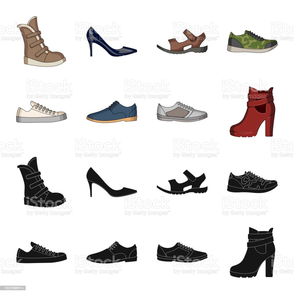 6721b5370092 A set of icons on a variety of shoes.Different shoes single icon in black