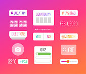istock Set of icons on psychedelic background 1212688280