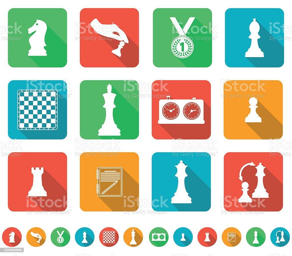 Conjunto de ícones sobre o tema de Xadrez download vetor e ilustração  royalty-free