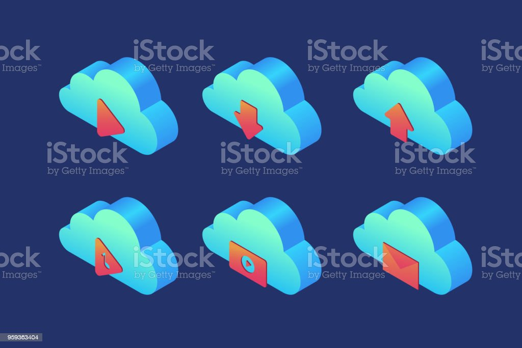 Set Of Icons On Topic Of Cloud Storage Player Download
