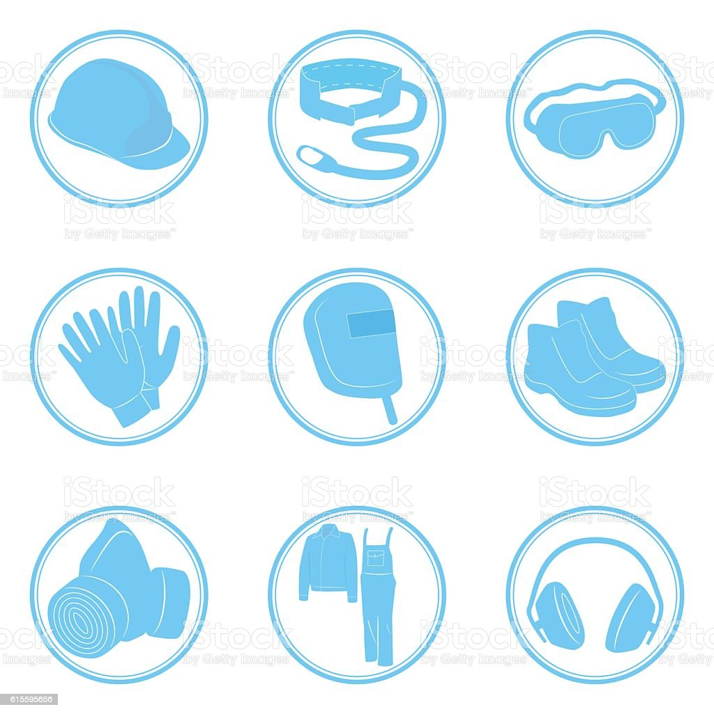 Set of icons personal protective equipment vector art illustration