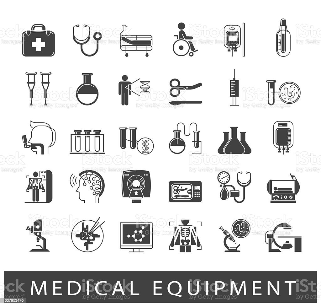 Set of icons presenting various medical equipment vector art illustration