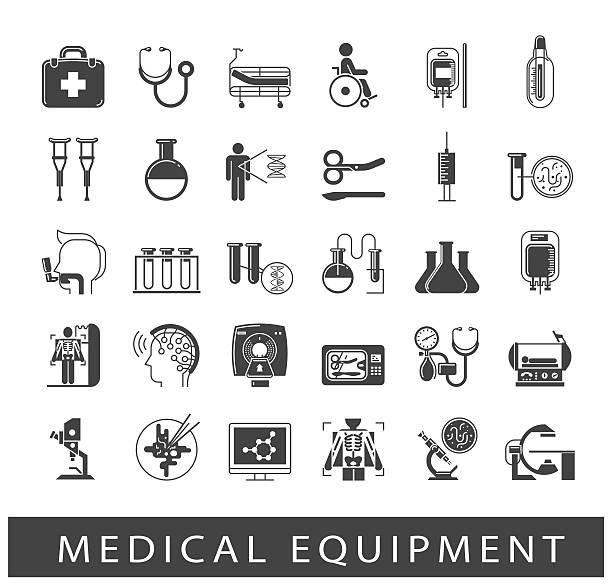 set of icons presenting various medical equipment - medizinische geräte stock-grafiken, -clipart, -cartoons und -symbole