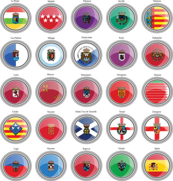 set of icons. provinces of spain flags - lleida stock illustrations