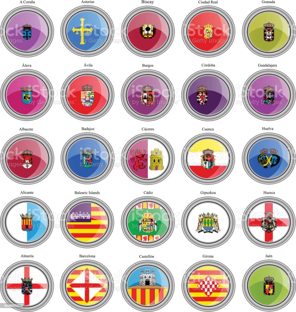Set of icons. Provinces of Spain flags. Vector. vector art illustration
