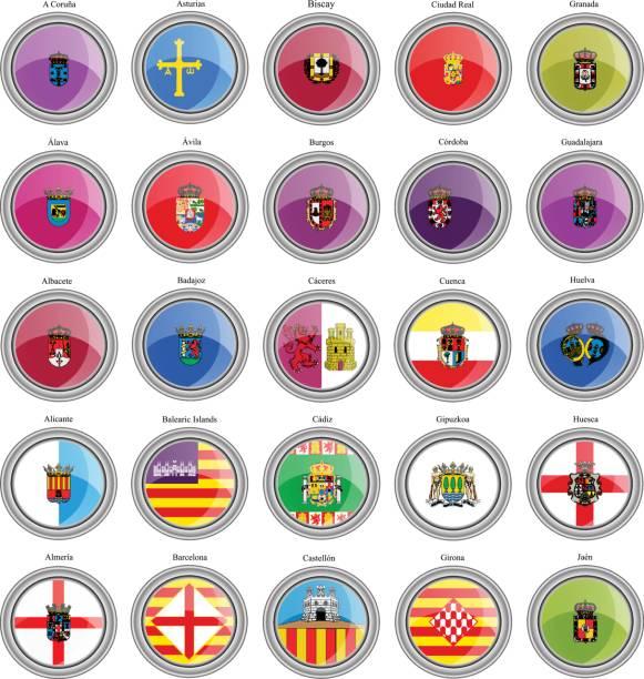set von icons. provinzen von spanien flags. vektor. - alicante stock-grafiken, -clipart, -cartoons und -symbole