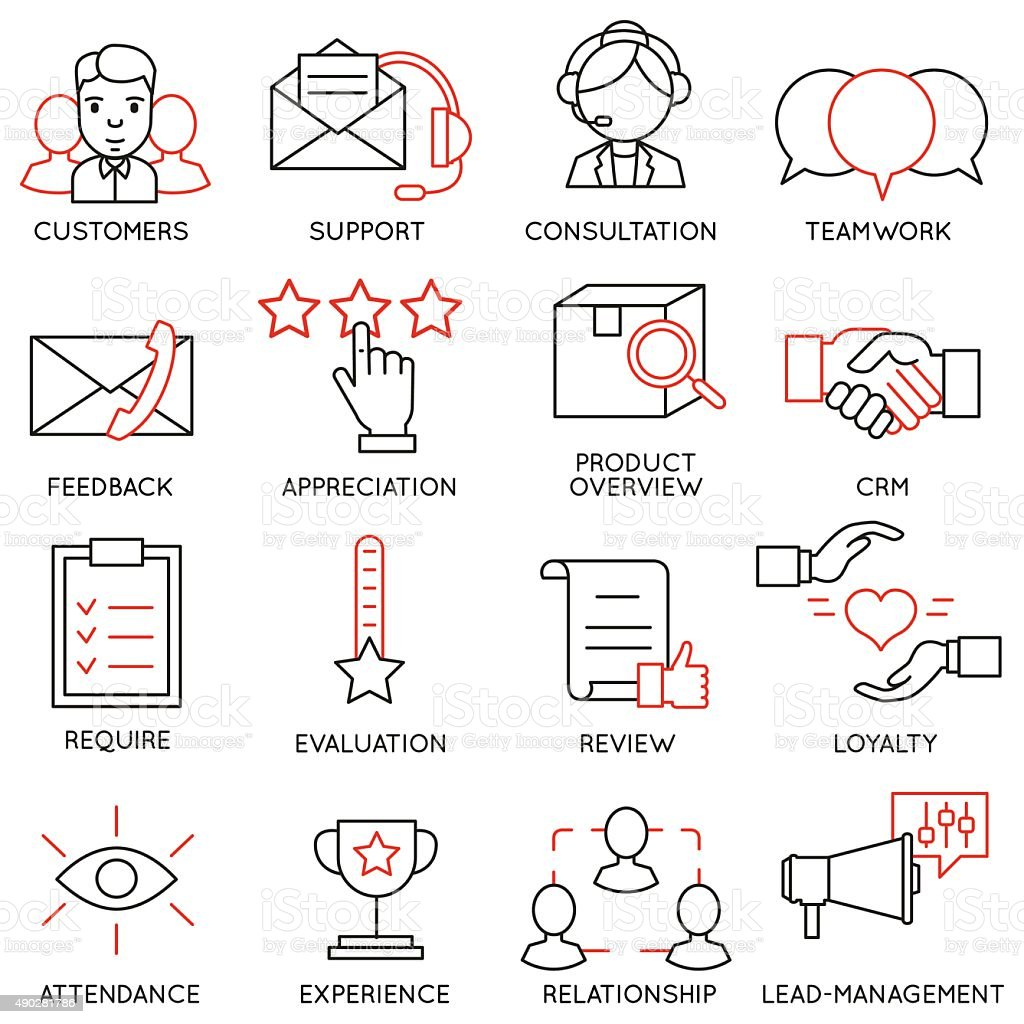 Set of icons related to business management - part 13 vector art illustration