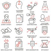 Vector set of 16 icons related to business management, strategy, career progress and business process. Mono line pictograms and infographics design elements - part 17