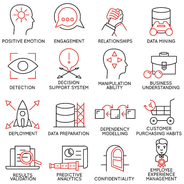 ilustraciones, imágenes clip art, dibujos animados e iconos de stock de conjunto de iconos relacionados con la gestión empresarial-parte 26 - prometido