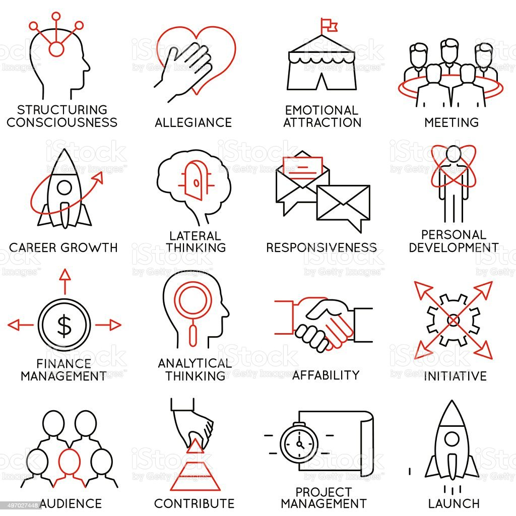 Set of icons related to business management - part 29 vector art illustration