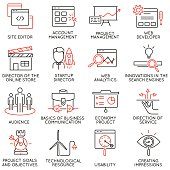 Set of icons related to business management - part 31