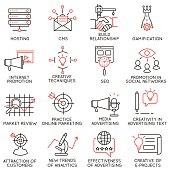 Vector set of 16 icons related to business management, strategy, career progress and business process. Mono line pictograms and infographics design elements - part 32
