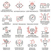 Set of icons related to business management - part 35