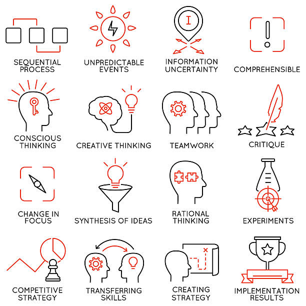 Set of icons related to business management - part 42 vector art illustration