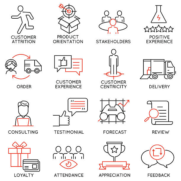 Set of icons related to business management - part 44 vector art illustration