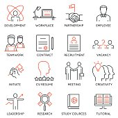 Set of icons related to business management - part 46